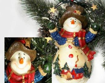 Snowman Statues ,Frosty the Snowman Figurine - Snowman decor -- folk art snowman -   # 81