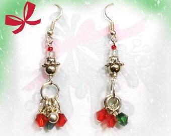 red green drop earrings - Red Green Christmas  earrings -Holiday Dangle Earrings,  Christmas beaded earrings,      # J 16