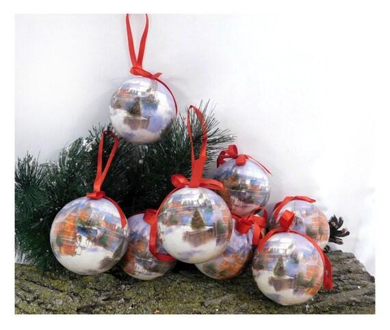 Vintage Decoupage tree ornament ,Decoupage Tree Ornaments, set of (9)  Shabby Cottage Chic Christmas ,  4