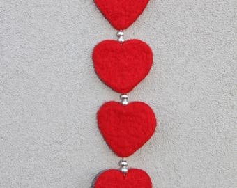 Valentine hearts, hand felted hearts on a string, needle felted hearts, red wool hearts, heart ornament, beautiful heart, wool, heart lover