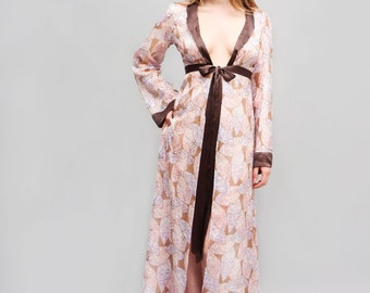 c3a16c765f Pure Silk Long Robe Autumn Leaves