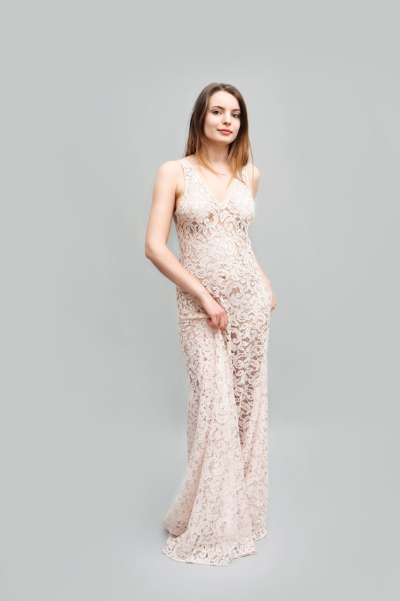 Venus Lace Dress See Through Maxi Dress Pink Dress Bridal Etsy