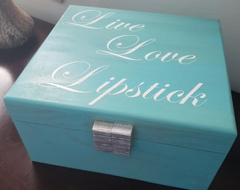 Makeup Organizer Wood Storage Box with Inspiring Quote or Personalization, Adjustable Compartment Organizer, Great Gift Idea!