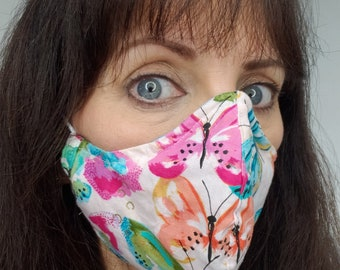 Floral Face Mask with 2 or 3 Layers, Washable, Reusable, Reversible with 2 Sides