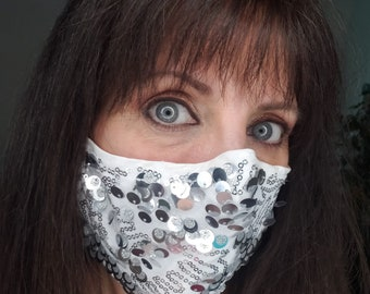 Silver Sequin Fitted Bling Mask