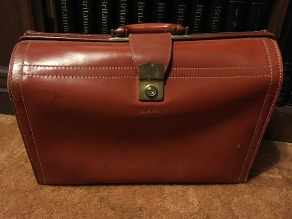 Vintage Leather Briefcase-Doctor Bag-Luggage, Rexb