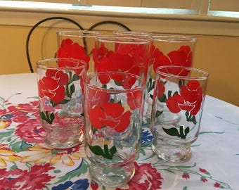 Vintage Poppy Drinking Glasses and Juice Glasses ,Mod 4 Red Tumblers and 3 Juice Glasses