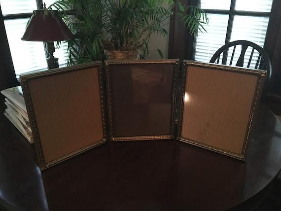 Vintage Tri Fold Picture Frame Vintage Brass Ornate Tri Etsy