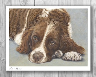 """Giclee Limited Edition Large Print - """"Patiently Waiting"""" Spaniel art"""