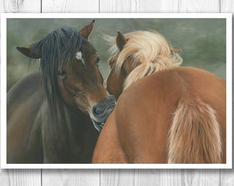 """Giclee Limited Edition Print - """"You Scratch My Back..."""" horse art"""