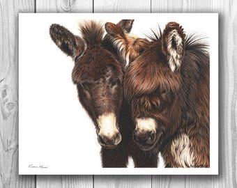 "Giclee Limited Edition Print - ""Eric & Ernie"" donkey art"