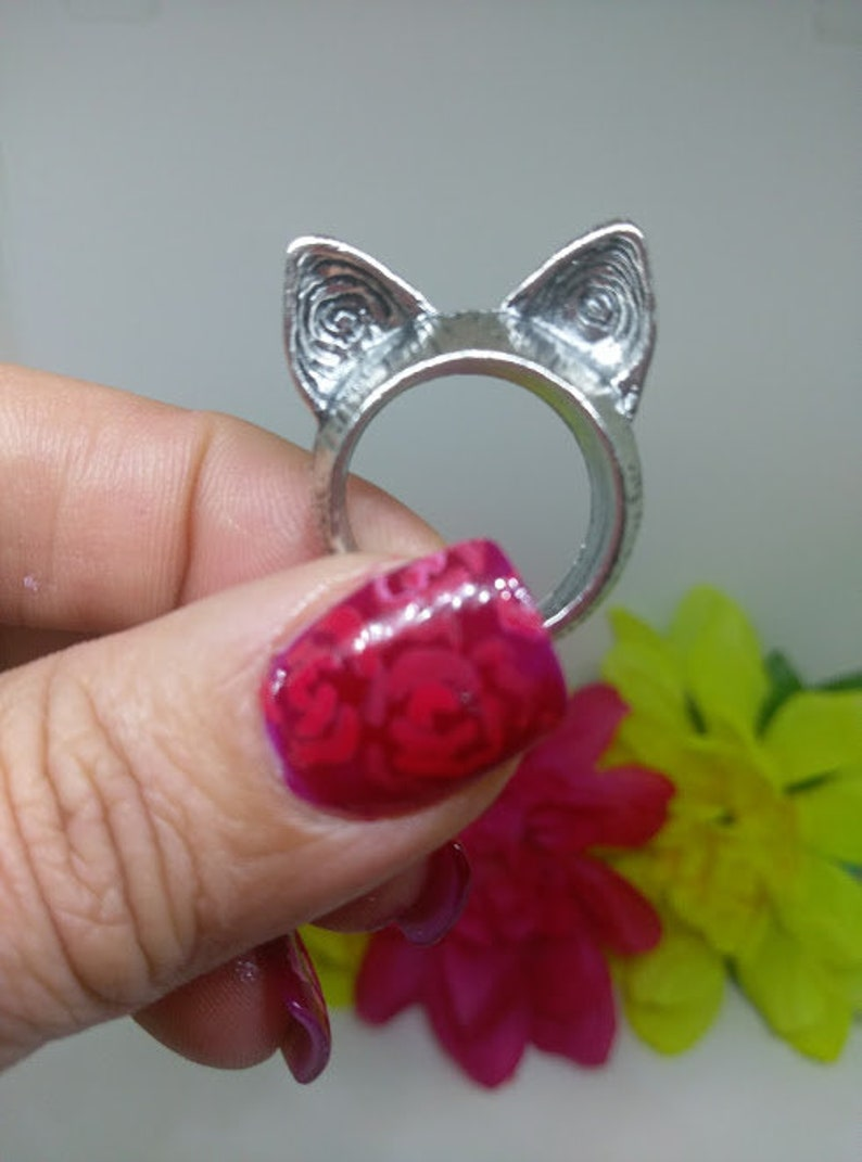 kitty ring cat lovers gift jewelry cat ears ring fashion ring rings women/'s ring Cat ring alloy ring silver ring cat vintage ring