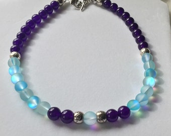 Amethyst & Turquoise Glass Necklace