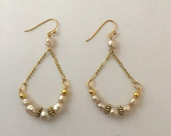 Pearl and Gold Plated Chain Earrings