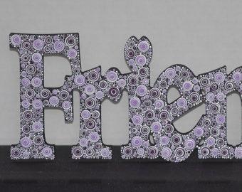 "12"" purple dot art wooded friends sign wall decor wall art"