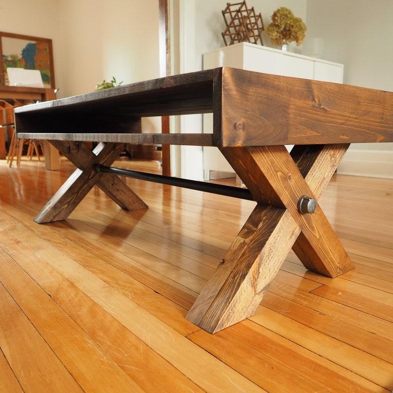 BUILD PLANS  X leg coffee table plans PDF  Modern industrial image 0
