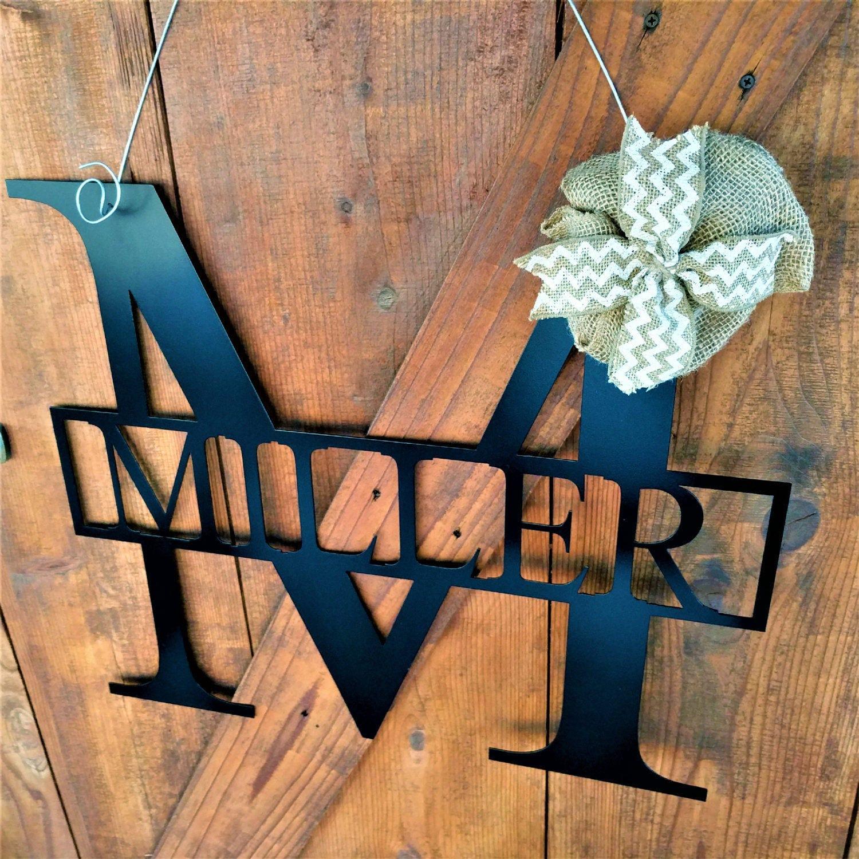 Letter Door Hanger Letter Large Door Wreaths Wedding Gift Wedding Sign Metal Signs Wall Hanging Large Metal Letters Family Name Signs & Letter Door Hanger Letter Large Door Wreaths Wedding Gift Wedding ...