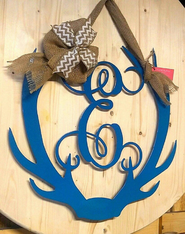 Antler Monogram, Antler wreath, Antler Wall Hanging, Antler Door ...