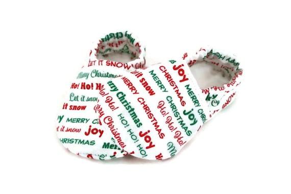 White Christmas mocassins bébé mocassins, mocassins, stuffer, jersey doux chaussures pour bébé, chaussure pour nouveau-né, Chaussures enfant, chaussons bébé, Noël