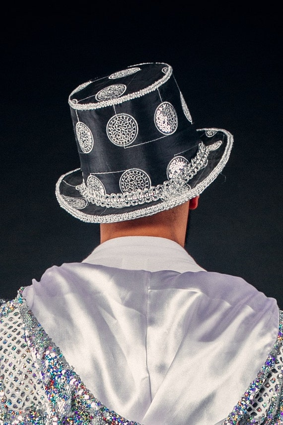 Black Sequinned Fancy Dress Hat Sequin Fedora Cylinder Mens Womens Carnival