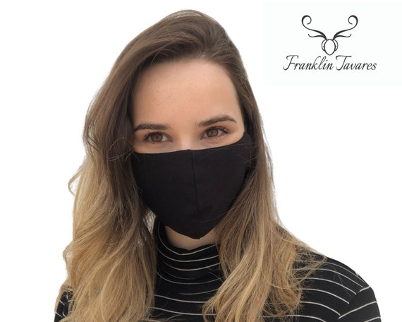 Black Face Mask W Filter Pocket Adjustable Elastic Bands Etsy