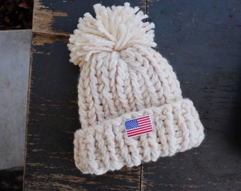 464f7b84696f5 Chloe Kim Hat Olympic Snowboarder Hat White Super Chunky Pom Pom Hat   THE  BIG HAT Free Shipping Gifts for Women