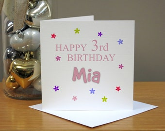 Personalised 3rd Birthday Card For Her