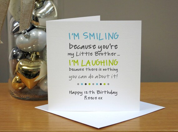 Personalised Funny Birthday Card For Brother Little