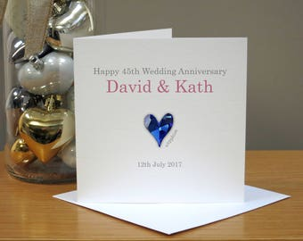 Personalised 45th Anniversary Card - Sapphire Anniversary Card - Forty-fifth Anniversary Card - Heart - For Husband/Wife - Couple - Him/Her