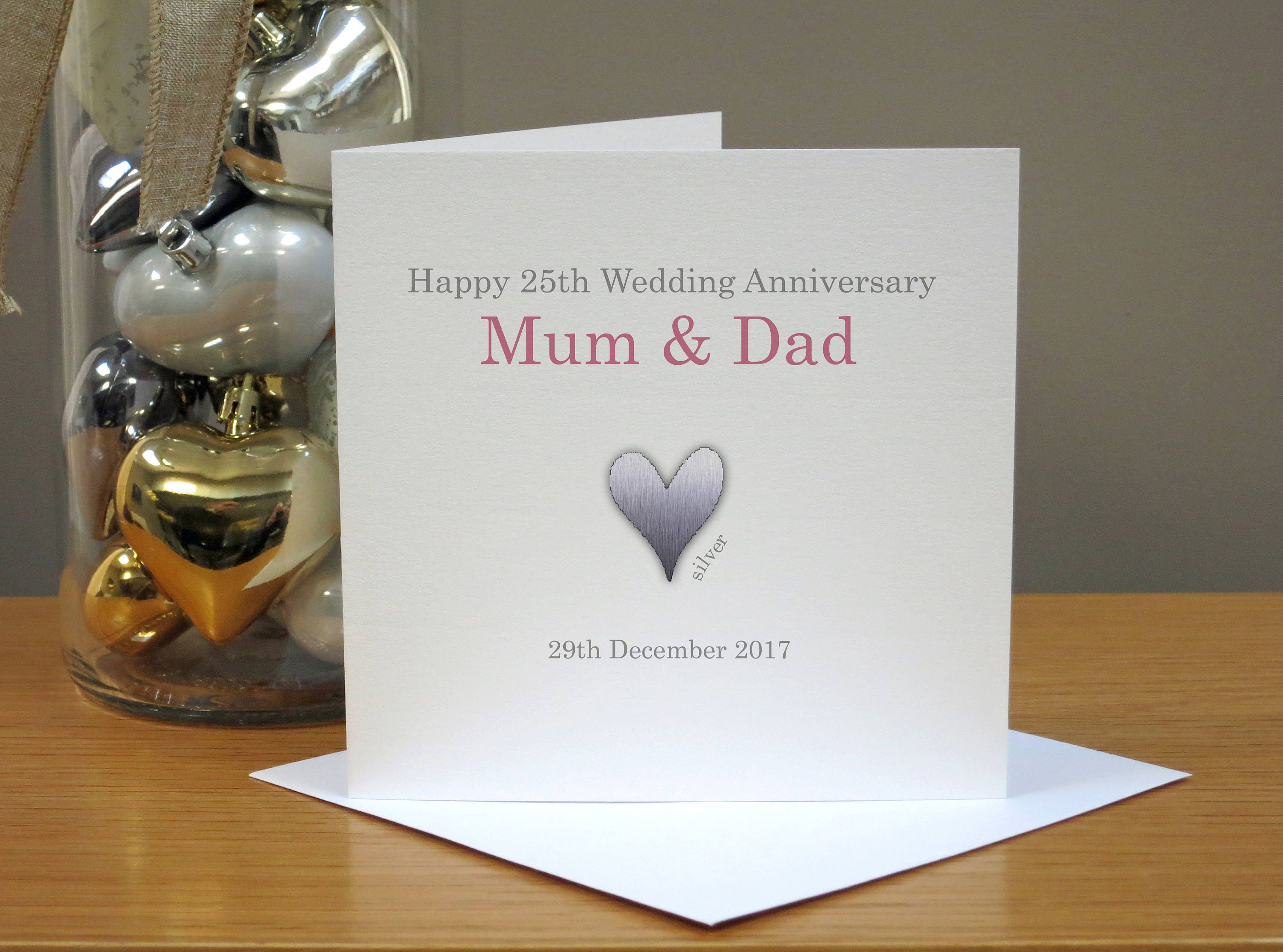 Personalised 25th Anniversary Card Silver Anniversary Card