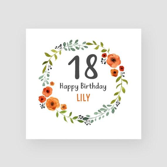 Geburtstagskarte Text 18.Personalisierte 18 Geburtstagskarte Achtzehnten Geburtstagskarte Im Alter Von 18 Blumenkranz Fur Madchen Fur Frauen Fur Sie Jeder