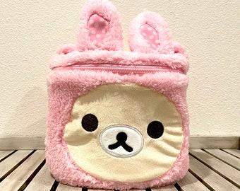 Rilakkuma bear fuzzy handbag drawstring POUCH bag makeup bags phone anime