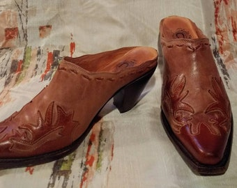 5afc6e7290b Women s Size 7.5 Charlie Horse Leather Mules Shoes Slip On Backless Cowboy  Western Southwest Heel Cut Out Overlay Cognac Brown Two Tone