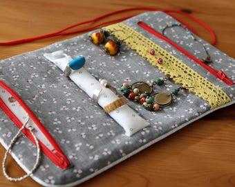 Jewelry travel organizer / travel pouch purse zipper zipped