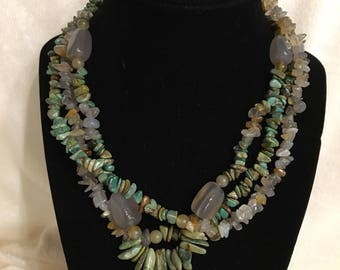 db835d44d35417 Vintage Multi Strand Quartz and Genuine Turquoise chips and fingerlings  Necklace with 925 Clasp