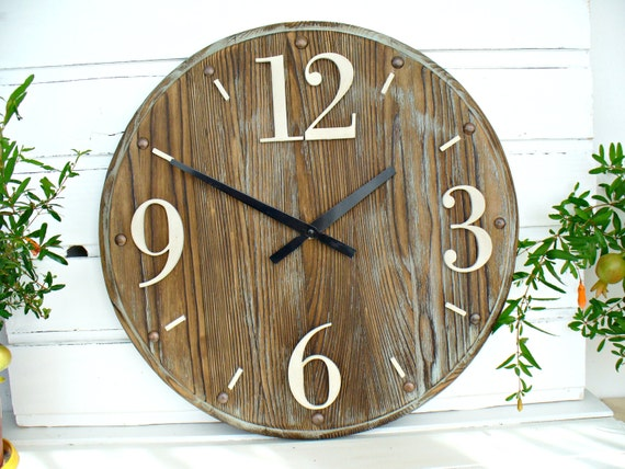 Items Similar To Rustic Wall Clock 16 Inch Home Decor