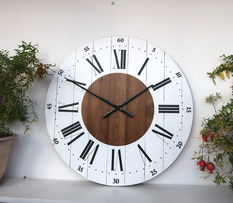 Large Wall Clock 24 Inch Wall Clock Wall Decor Rustic Kitchen Etsy