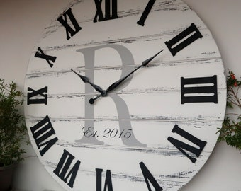 """28""""/30""""/33""""/37"""" Personalized distressed white  wall clock, Wedding gifts for couple"""