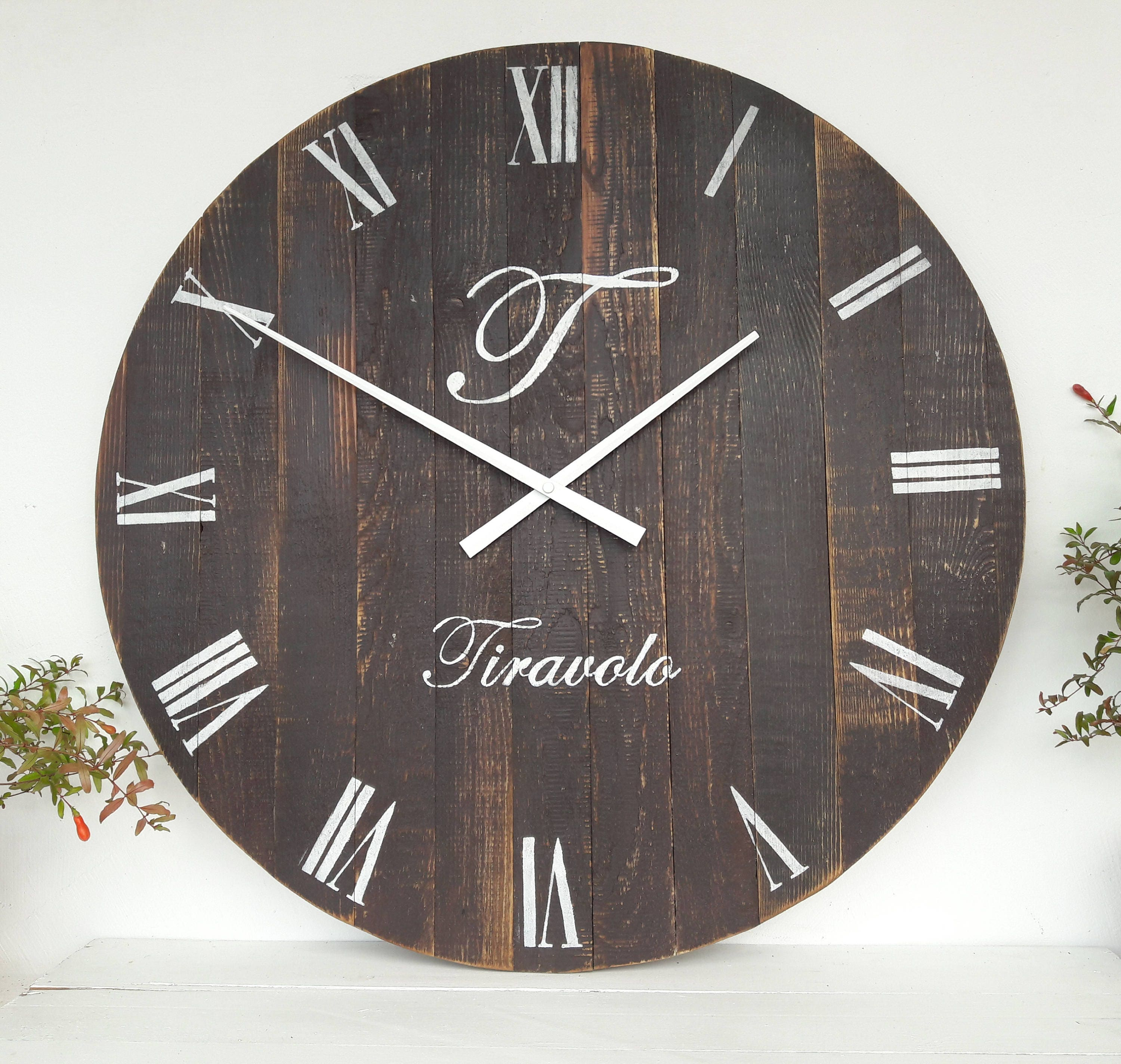 Personalized Rustic Clock Large Wall Clock 24 Inch Rustic
