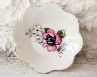 Schwarzenhammer Bavaria, Pink Rose Dish, Miniature Bowl, Tea Bag Tray, Porcelain Rose Dish, Porcelain Ring Dish, Paperclip Holder, Pin Bowl