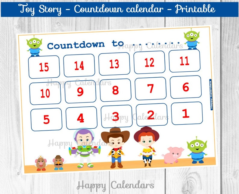 photograph about Printable Countdown Calendar called Countdown Calendar Toy Tale - Video countdown Printable - Toy Tale countdown calendar - Birthday countdown - Toy Tale Calendar - Hype