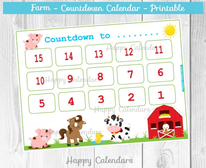 photo relating to Countdown Calendar Printable titled Countdown Calendar Farm concept - Farm bash countdown Printable - Cow countdown calendar - Birthday countdown - Farm bash Calendar - Horse