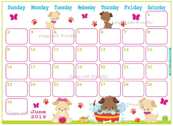 Calendar June 2019 - Cute dogs Planner Printable - Cute Planner - ANIMALS  theme - June 2019 Planner - 2019 June Calendar Animals - puppys