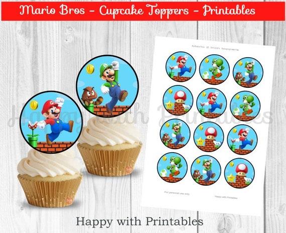 Super Mario Bros Cupcake Toppers Super Mario Bros 2 Inch Etsy