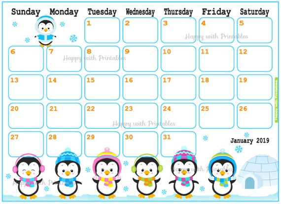 Calendar January 2019 Penguin Planner Printable Cute   Etsy
