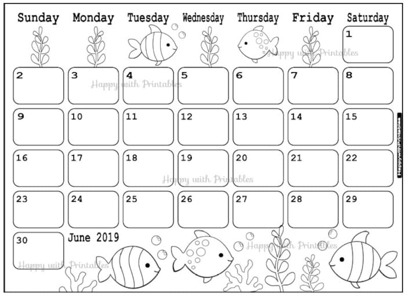 2019 June Calendar.Calendar June 2019 June 2019 Planner Printable Cute Planner Coloring Page Theme 2019 Planner 2019 Cute Sea World Calendar Stamps