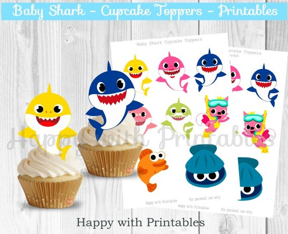 Baby Shark Cupcake Toppers Shark Treat Toppers Baby Shark Party Printables Shark Toppers Baby Shark Printables Baby Shark Party