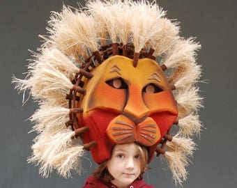 Simba headdress Lion Mask Junior and Adult size Theater production Musicals  sc 1 st  Etsy & Lion king costume | Etsy