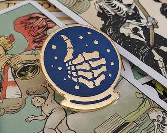 Good Fortune - Crystal Ball - Skeleton Thumbs Up - Enamel Pin
