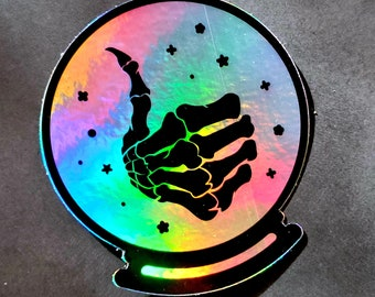 Good Fortune - Crystal Ball - Skeleton Thumbs Up - Holographic sticker